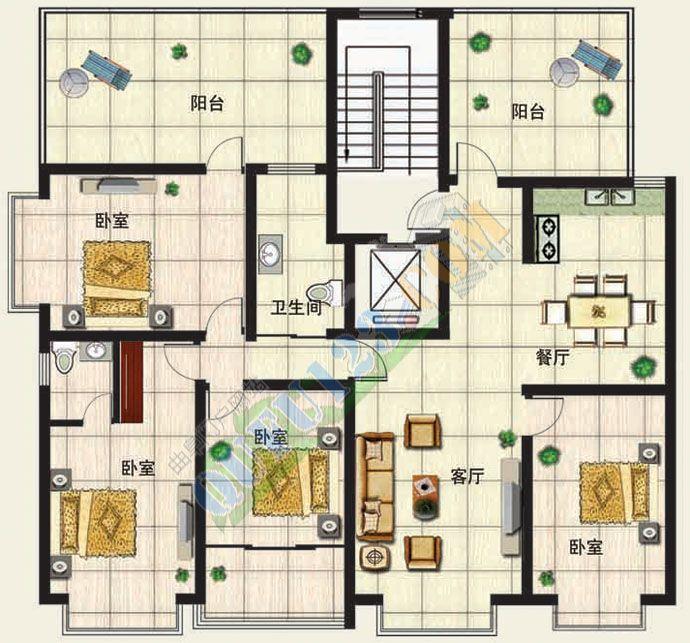 130平方米四室两厅两卫设计图展示